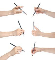 Free Hand Gesture Set Pencil Stock Images - 20316454