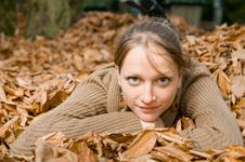 Free Woman In Fall Leaves Stock Photography - 20316502