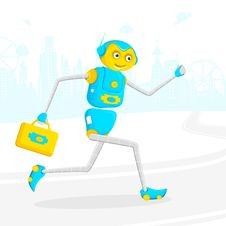 Robot Running With Briefcase Stock Images