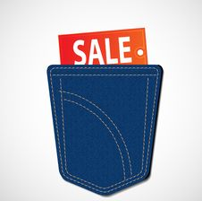 Free Jeans Pocket With Sale Tag Stock Photography - 20319212