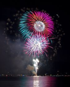Free Colorful Fireworks Over The Lake Stock Photos - 20319273
