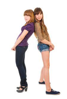 Free Full-length Portrait Of Two Girls Stock Photo - 20320490