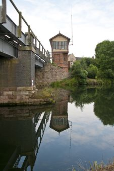 Free Railway Signal Box Across River Stock Photos - 20321413
