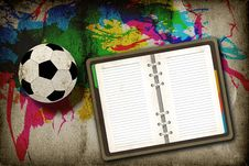 Free Football And Blank Notebook Royalty Free Stock Photography - 20322647