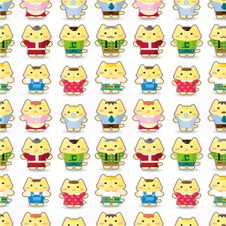 Free Sweet Cat Family Seamless Pattern Stock Photography - 20322982