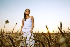 Woman In Wheat Field Stock Images