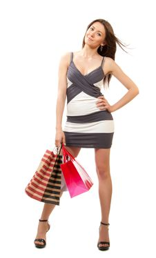 Free Woman With Colorful Gift Shopping Bags Royalty Free Stock Photo - 20324305