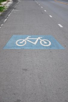 Bicycle Lane On The Road Stock Photography