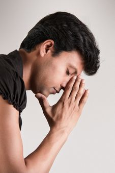 Free Indian Man Thinking Position With Closed Eyes Stock Photos - 20324873