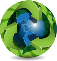 Free Blue Globe And Green Arrows Stock Photography - 20328042