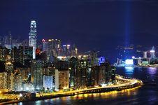 Hong Kong Night Coast Stock Images