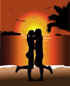 Free Sunset Kiss Stock Images - 20329134