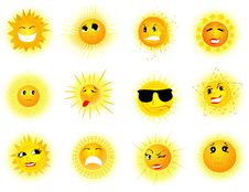 Free Sun With Many Expressions Royalty Free Stock Photo - 20329145