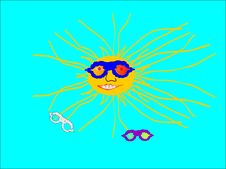 Animated Illustration Of The Sun With Sunglasses, Stock Image