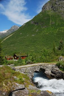 Small Village In Norwegian Mountain. Stock Photography