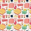 Free Cartoon Pink Furniture Seamless Pattern Royalty Free Stock Photo - 20333705