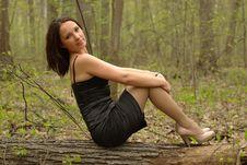 Free Pretty Girl Sitting On A Log Royalty Free Stock Photo - 20330035