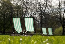 Free Deck Chairs In A Park Royalty Free Stock Images - 20330149