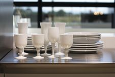Free White Wineglasses And Plates. Royalty Free Stock Photo - 20330835