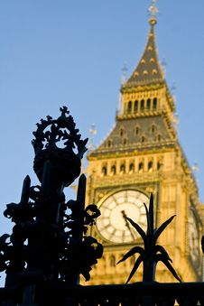 Grille Of The Houses Of Parliament Over Big Ben Stock Photography