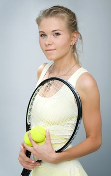 Free Girl With A Tennis Racket Royalty Free Stock Image - 20332746