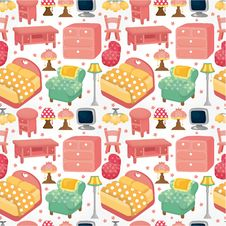 Cartoon Pink Furniture Seamless Pattern Royalty Free Stock Photo