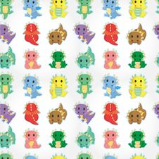 Free Cartoon Fire Dragon Seamless Pattern Royalty Free Stock Image - 20333706
