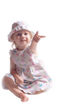 Free The Little Girl In A Dress With Arm Outstretched Royalty Free Stock Image - 20334096