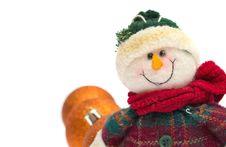 Free Smiling Snowman Toy Isolated On White Royalty Free Stock Photos - 20334758