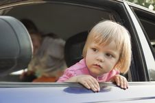 Free The Girl Looks Out Of The Car Stock Image - 20335091