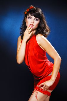 Free Lovely Girl In Red Dress Stock Photo - 20335520