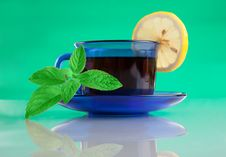 Free Nice Cup Of Tea And Mint On Green Background Stock Image - 20335611