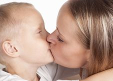 Free Mom And Son Kissing Stock Image - 20337581
