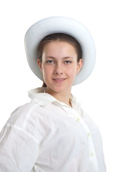 Free A Young Girl In A White Hat Royalty Free Stock Photo - 20340675