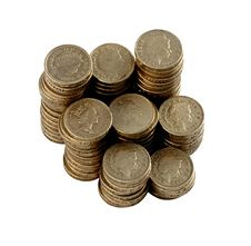 Free Pound Coins In Stacks Stock Photos - 20340823