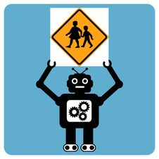 Free Modern Robot With Traffic Sign Stock Images - 20342044