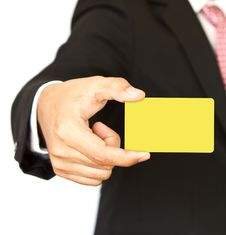 Free Business Man With Empty Card In Hand Stock Photos - 20343773