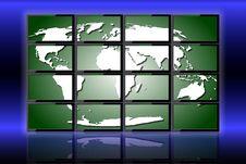 World On Monitors Royalty Free Stock Photos