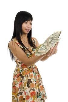 Free Woman Starring At Money Royalty Free Stock Image - 20344266