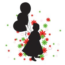 Free Little Girl S Silhouette Royalty Free Stock Photo - 20344435