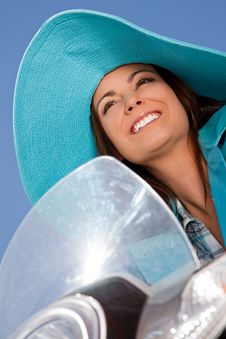 Woman Moped Smiling Stock Photos