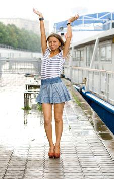 Free Girl Walking Outdoor On Embankment Stock Photos - 20345573