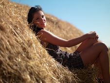 Free Woman On A Haystack Stock Photo - 20346420