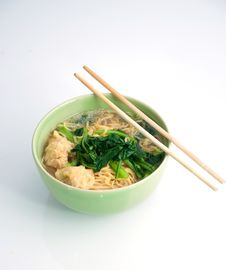 Free Chinese Noodle Soup And Chopsticks Royalty Free Stock Images - 20348229