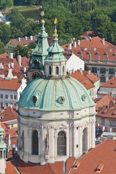 Free Saint Nicholas Church As Seen From Petrin Towe Royalty Free Stock Photos - 20348238