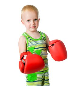 Free Little Boy In Red Boxing Gloves Royalty Free Stock Images - 20348359