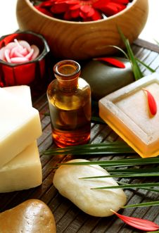 Free Spa Composition Of Bottle, Soap, Stones And Flower Stock Image - 20349531
