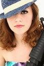 Free Beautiful  Mafia Girl Costume With Riffle Portrait Royalty Free Stock Photography - 20354747