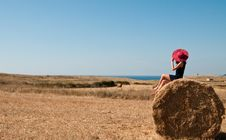 Free Girl On A Haystack Royalty Free Stock Photography - 20350137