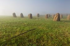 Free Mist In Field With Haycocks Stock Photo - 20350580